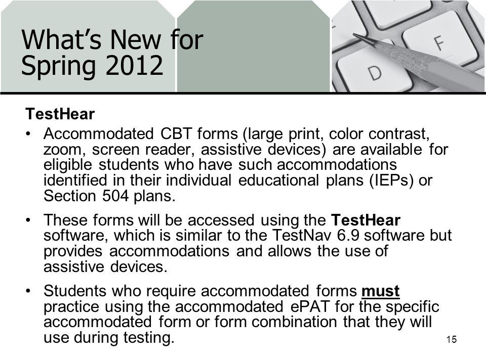 What's New for Spring 2012 TestHear