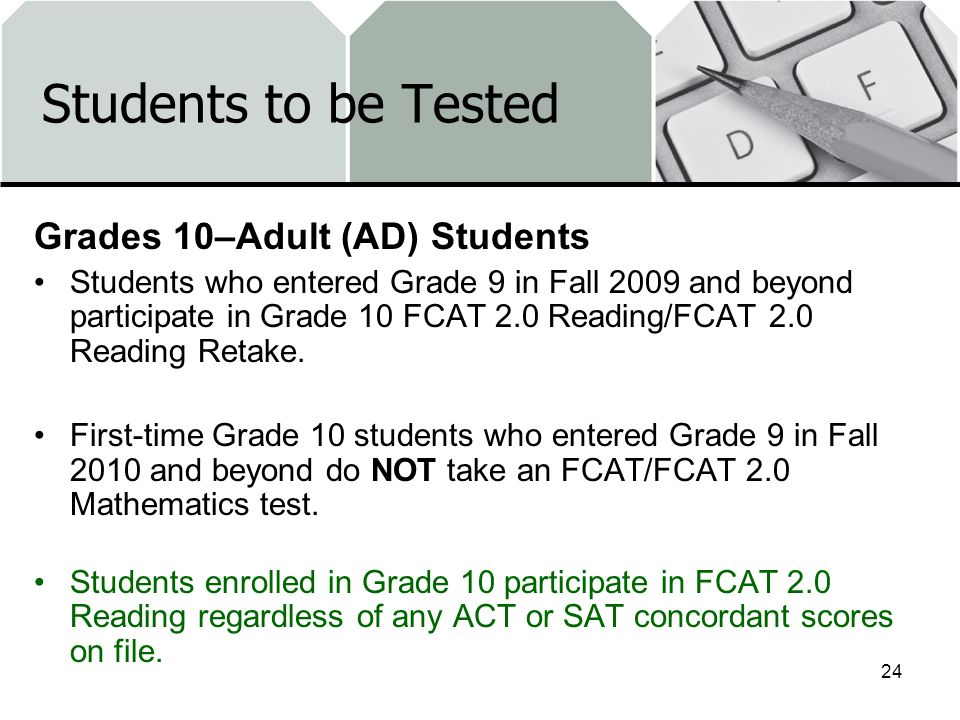 Students to be Tested Grades 10–Adult (AD) Students