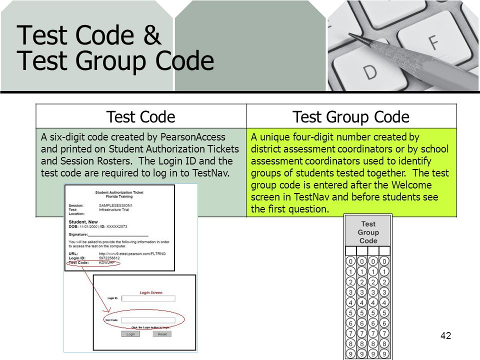 Test Code & Test Group Code