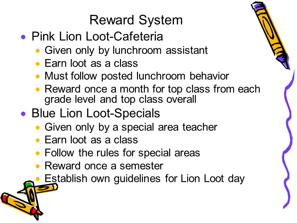Reward System Pink Lion Loot-Cafeteria Blue Lion Loot-Specials