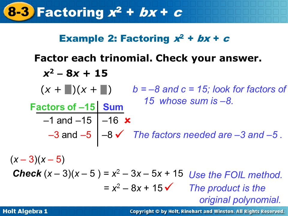 objective 1 factor quadratic trinomials of the form x2 bx c ppt video online download. Black Bedroom Furniture Sets. Home Design Ideas