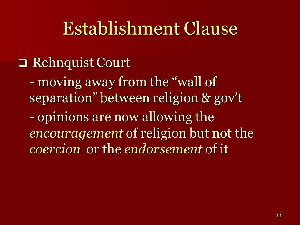 Establishment Clause Rehnquist Court