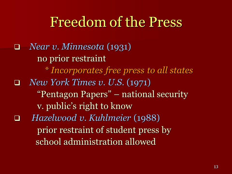 Freedom of the Press Near v. Minnesota (1931) no prior restraint