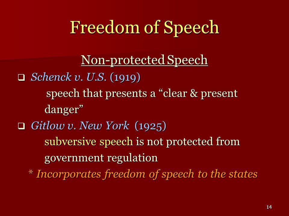 Freedom of Speech Non-protected Speech Schenck v. U.S. (1919)