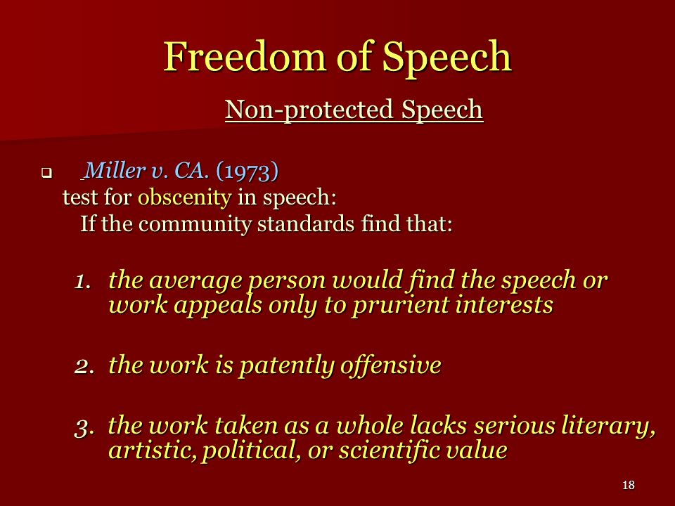Freedom of Speech Non-protected Speech