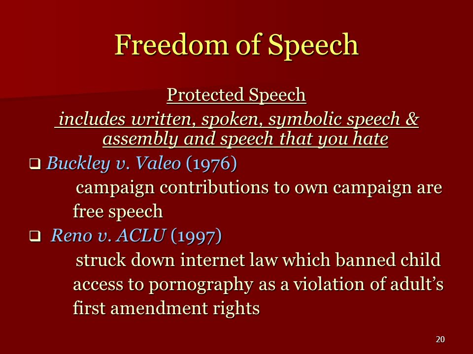 Freedom of Speech Protected Speech