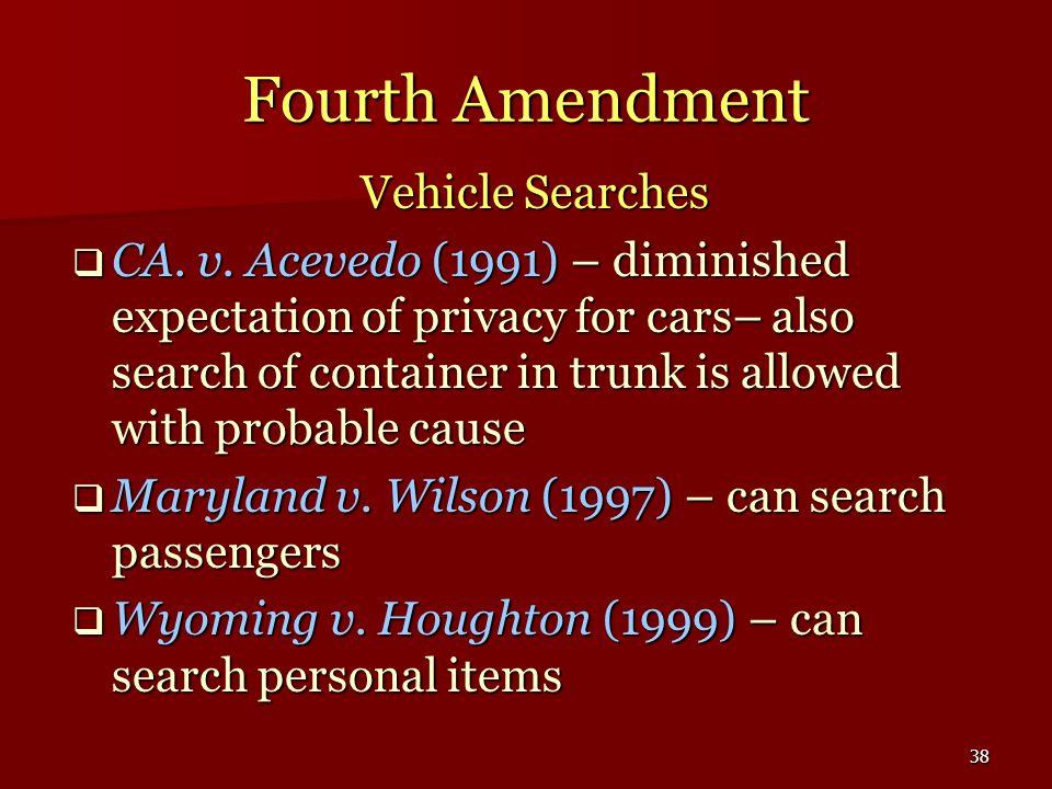 Fourth Amendment Vehicle Searches