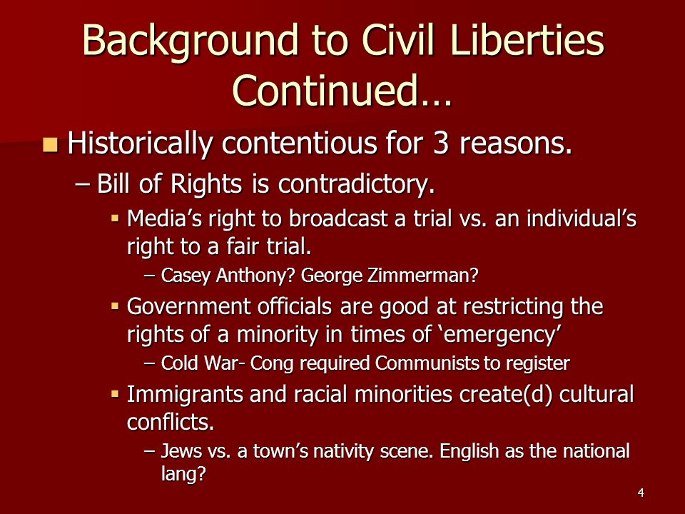 Background to Civil Liberties Continued…
