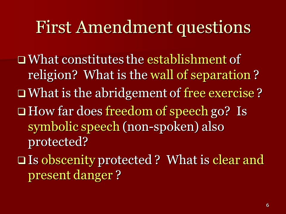 First Amendment questions