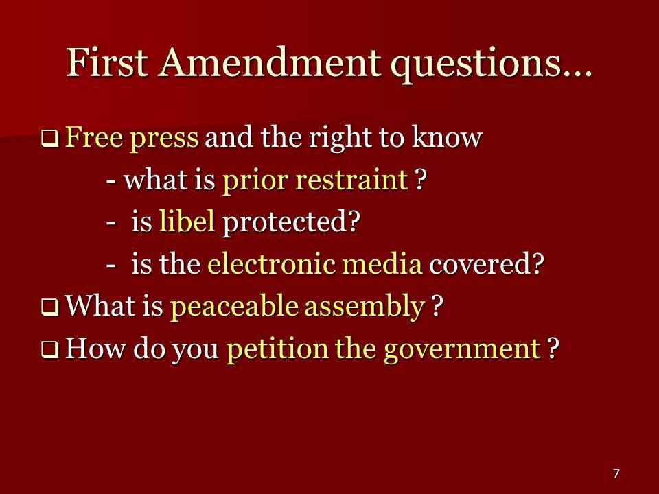 First Amendment questions…