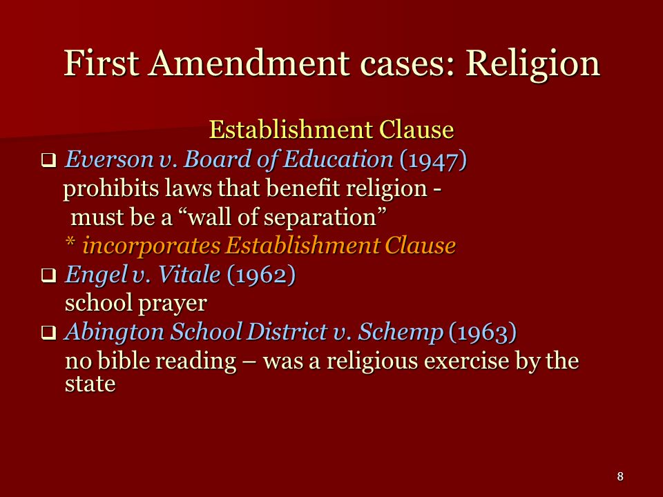 First Amendment cases: Religion