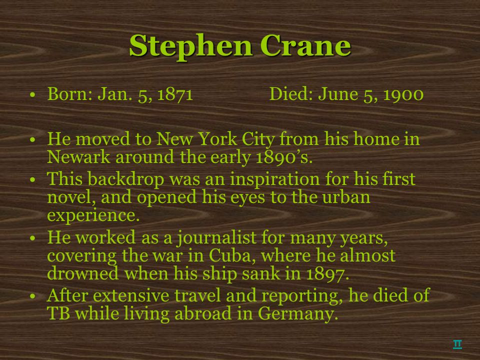 Stephen Crane Born: Jan. 5, 1871 Died: June 5, 1900