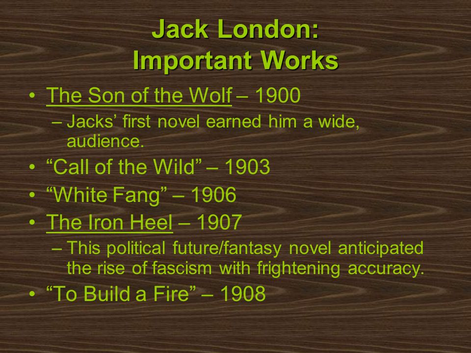 Jack London: Important Works