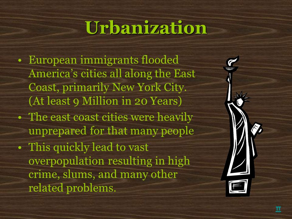 Urbanization European immigrants flooded America's cities all along the East Coast, primarily New York City. (At least 9 Million in 20 Years)