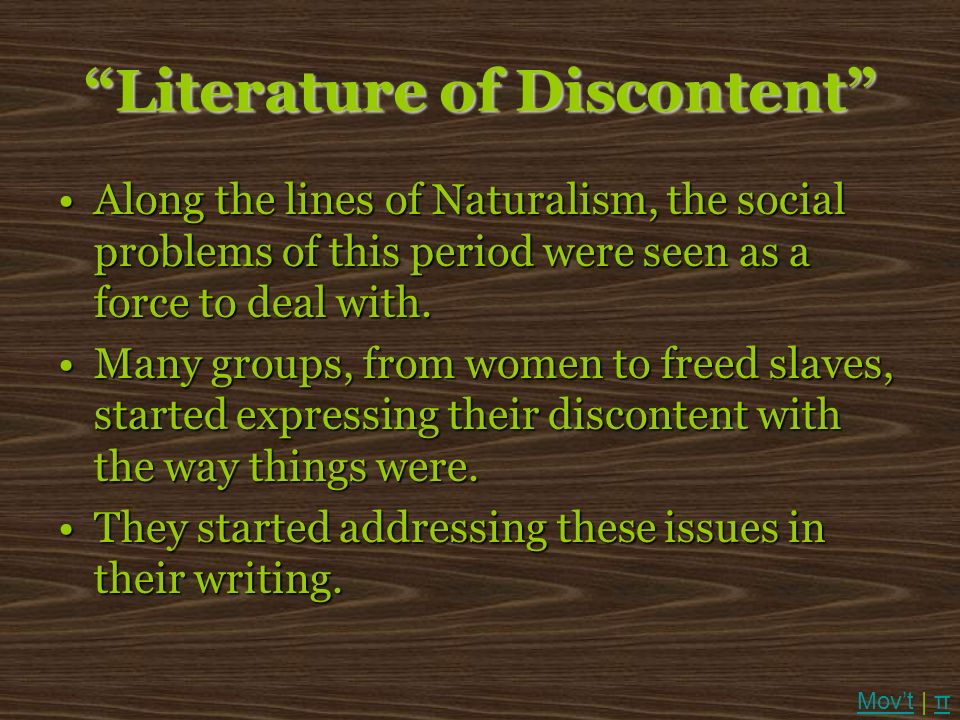 Literature of Discontent