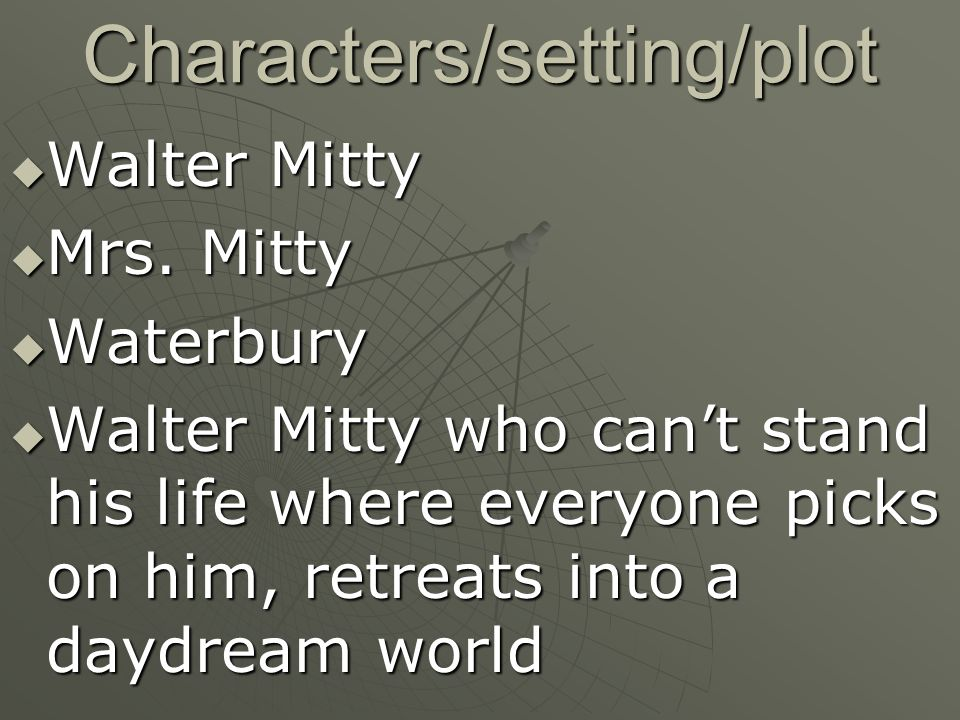 an analysis of the personalities of walter mitty in the secret life of walter mitty Walter mitty is a fictional character in james thurber's short story the secret life of walter mitty, first published in the new yorker on march 18, 1939, and in book form in my world and.