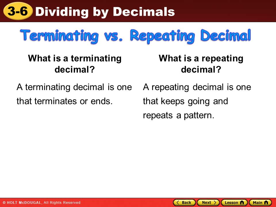 Terminating vs. Repeating Decimal