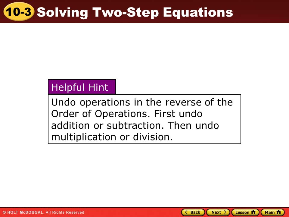 Undo operations in the reverse of the Order of Operations
