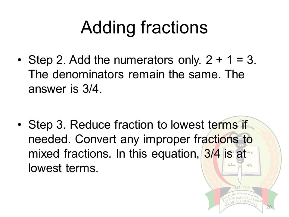 Introduction to pharmaceutical calculation ppt video online download 20 adding fractions ccuart Gallery