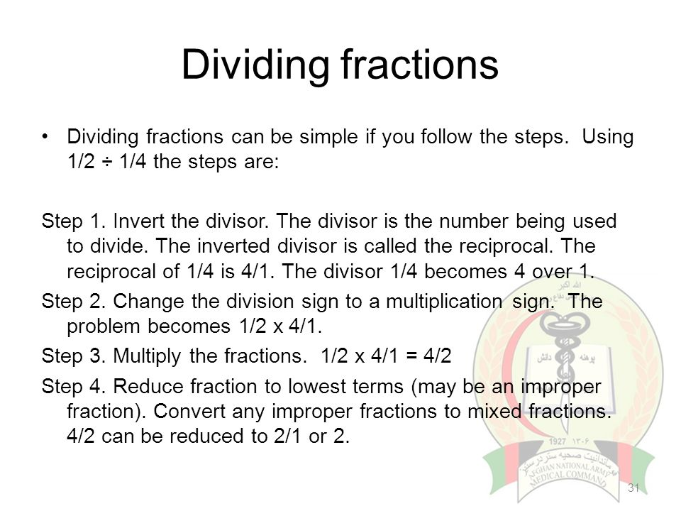 Introduction to pharmaceutical calculation ppt video online download 31 dividing fractions ccuart Images