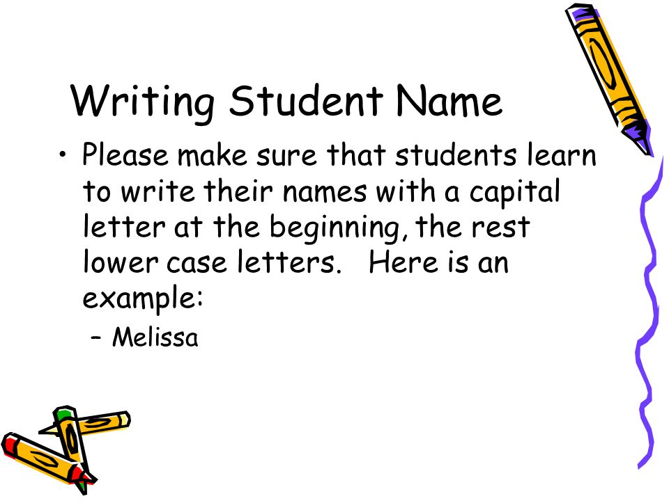 Writing Student Name