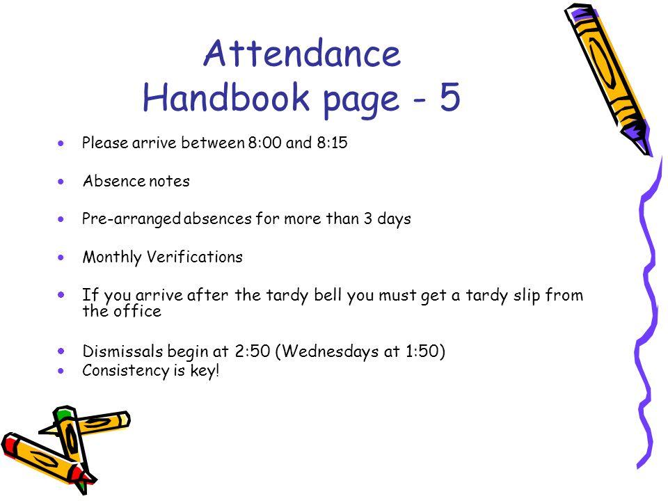 Attendance Handbook page - 5