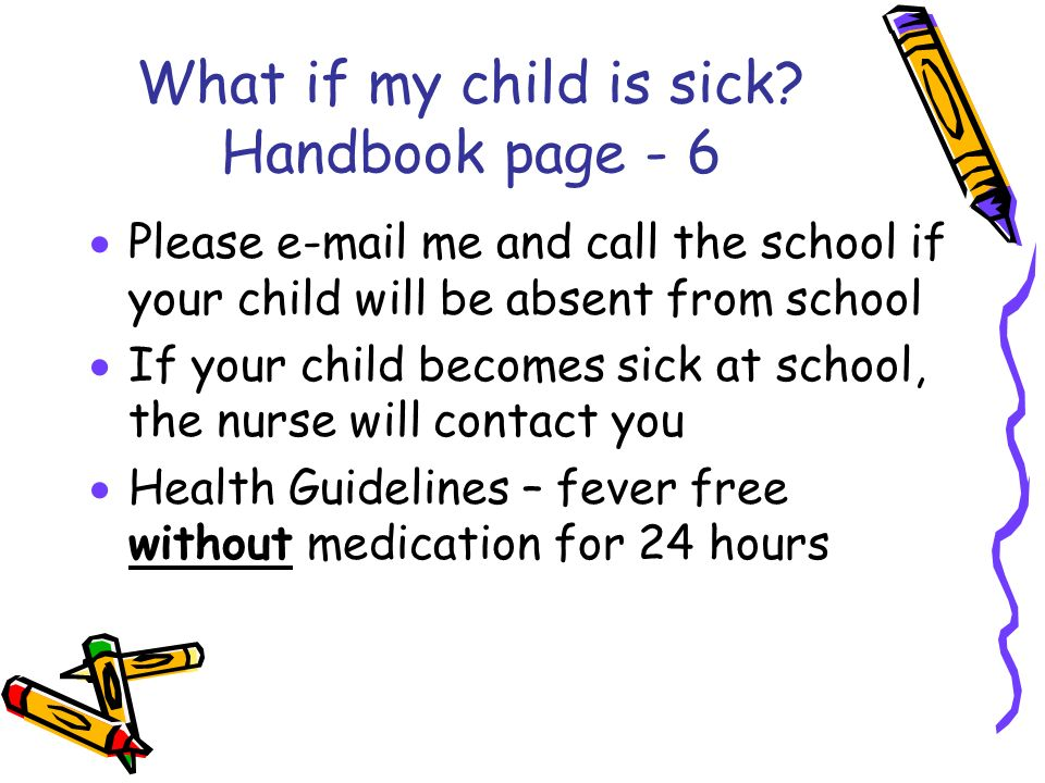 What if my child is sick Handbook page - 6