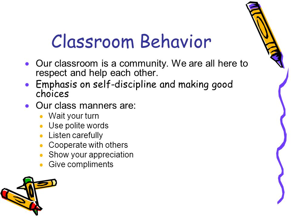 Classroom Behavior Our classroom is a community. We are all here to respect and help each other. Emphasis on self-discipline and making good choices.