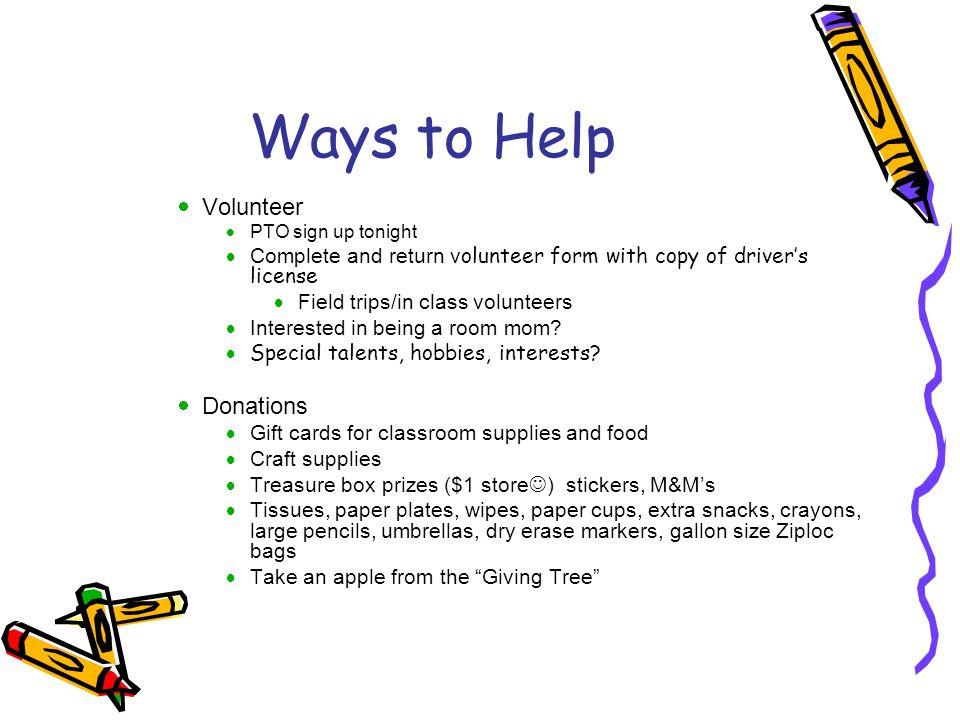 Ways to Help Volunteer Donations
