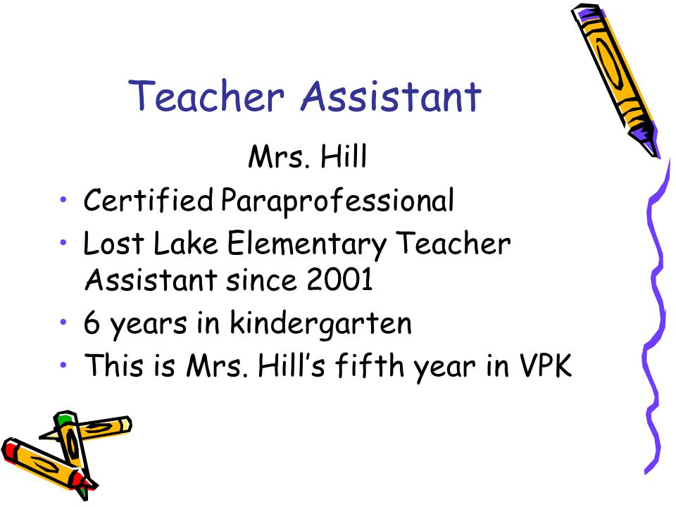 Teacher Assistant Mrs. Hill Certified Paraprofessional