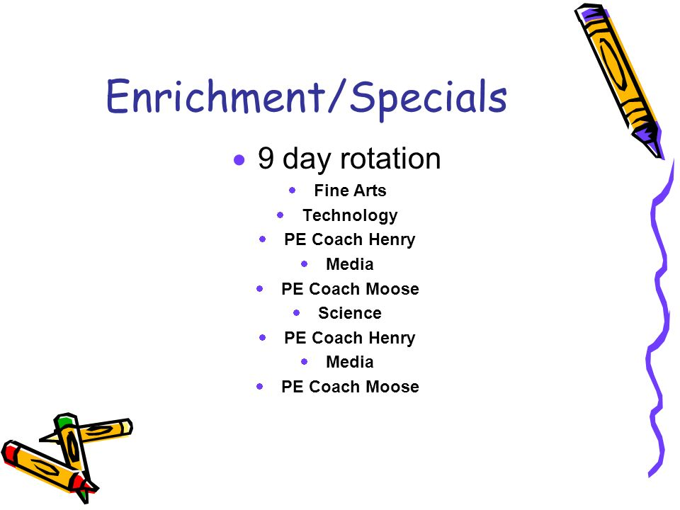 Enrichment/Specials 9 day rotation Fine Arts Technology PE Coach Henry