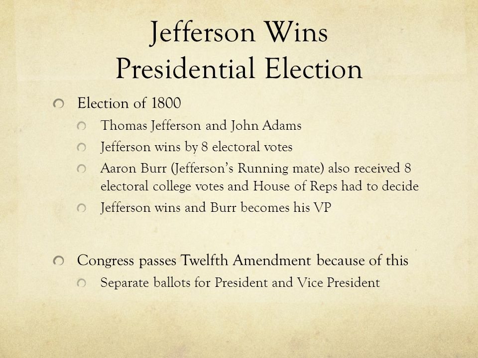 Jefferson Wins Presidential Election
