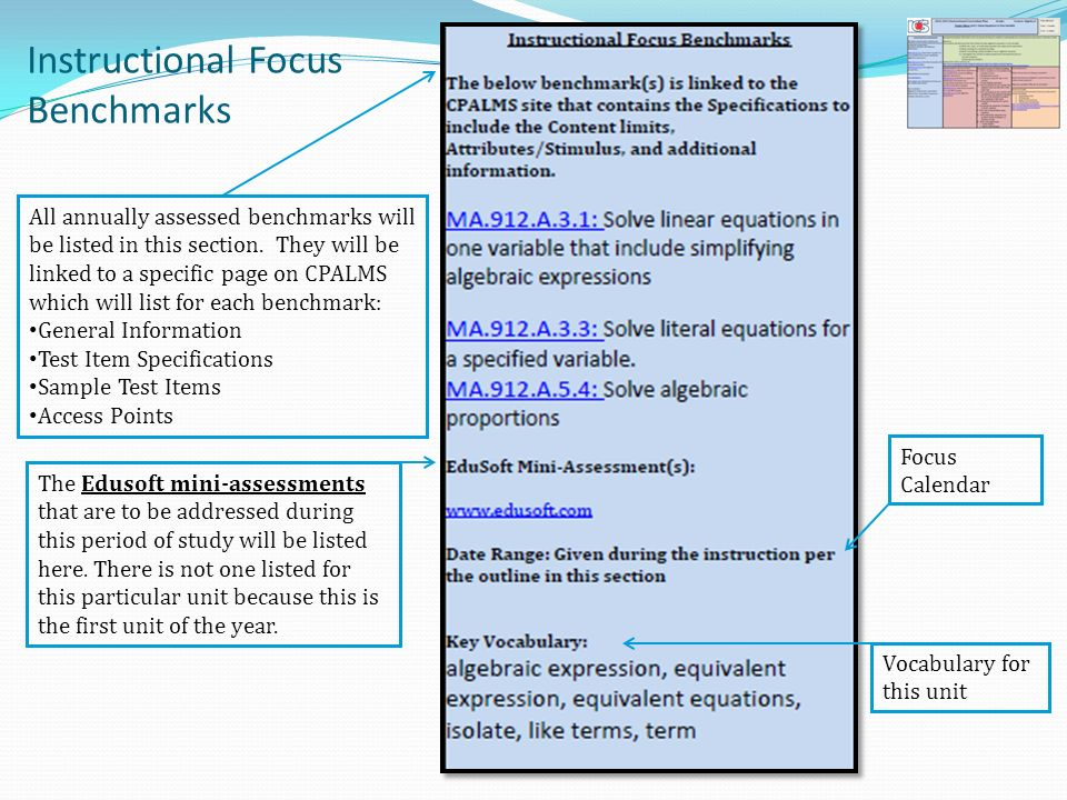 Instructional Focus Benchmarks