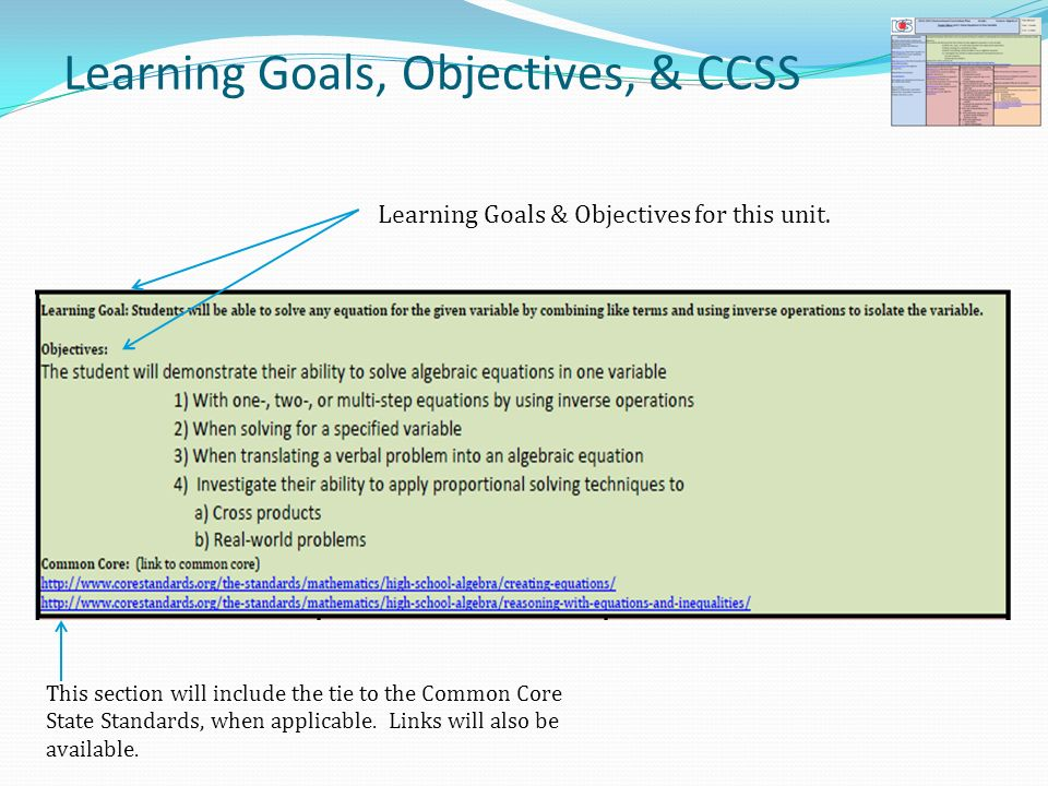 Learning Goals, Objectives, & CCSS