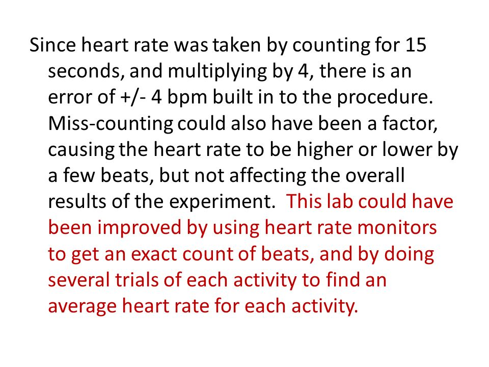 Since heart rate was taken by counting for 15 seconds, and multiplying by 4, there is an error of +/- 4 bpm built in to the procedure.