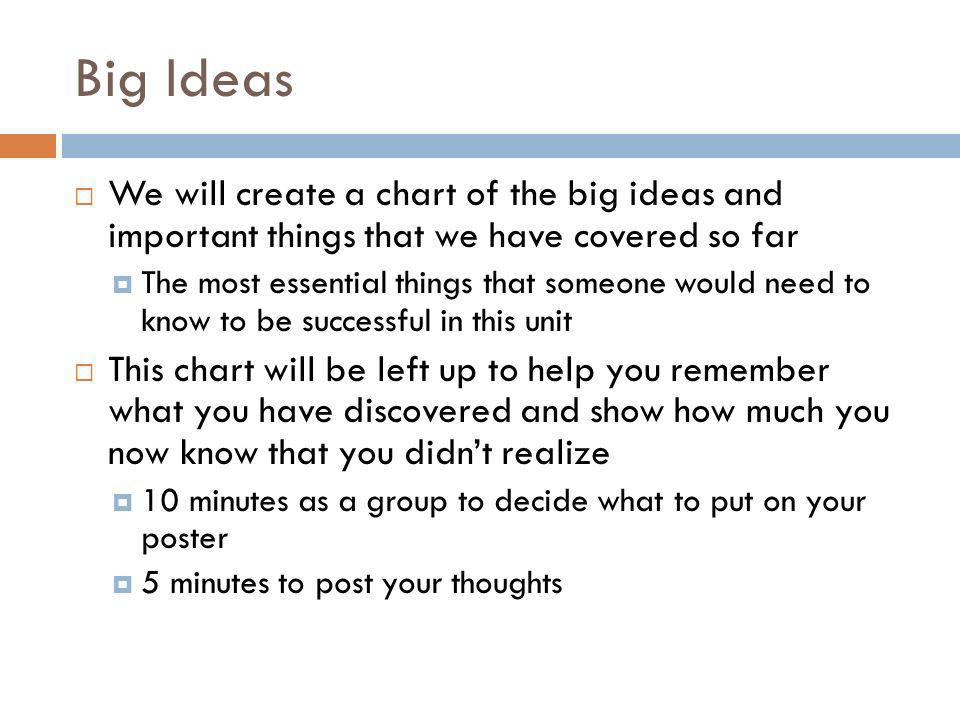 Big Ideas We will create a chart of the big ideas and important things that we have covered so far.