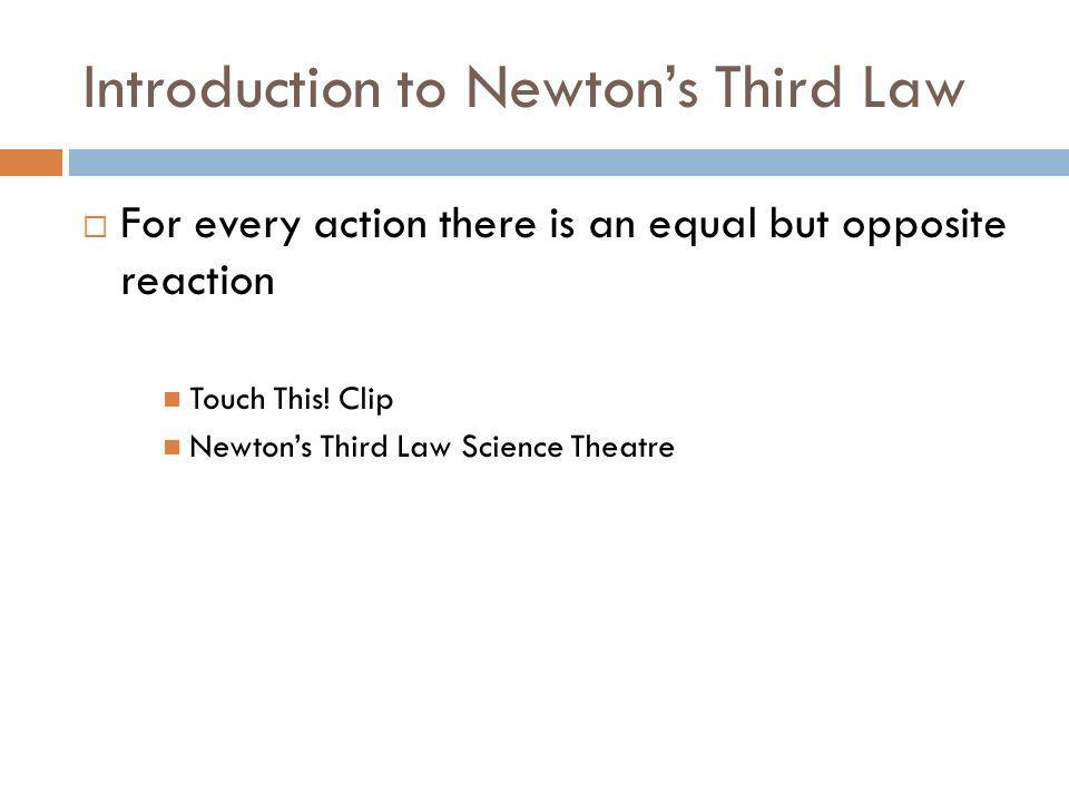 Introduction to Newton's Third Law
