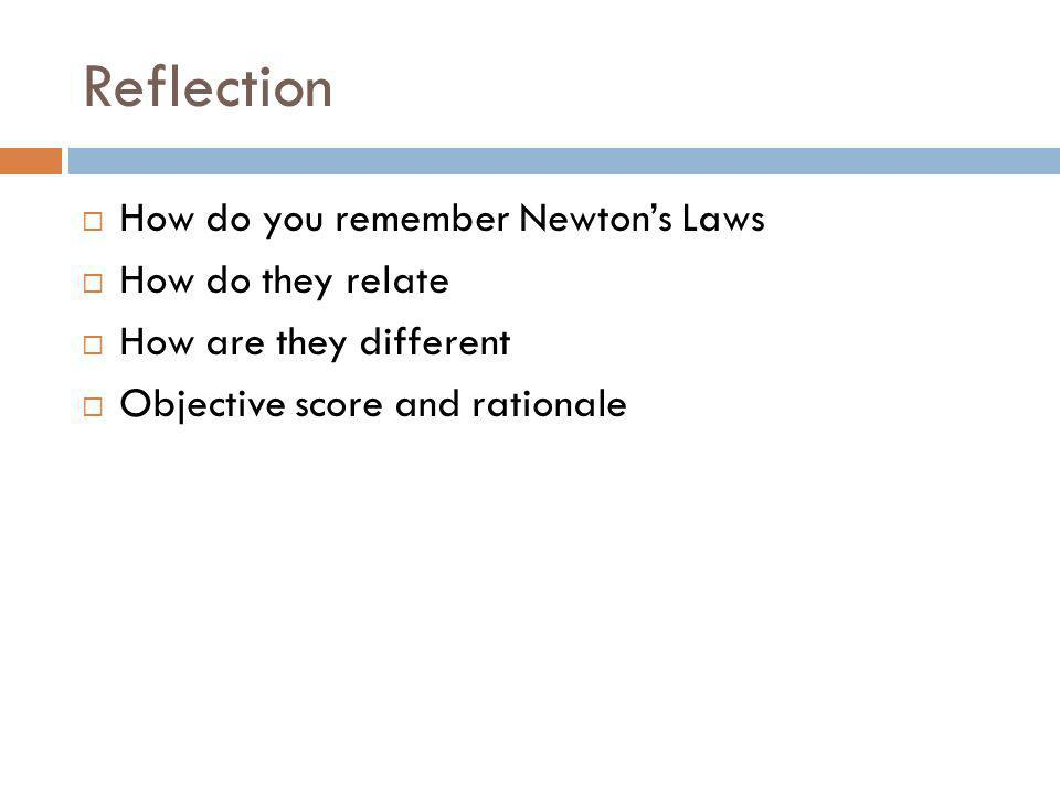 Reflection How do you remember Newton's Laws How do they relate
