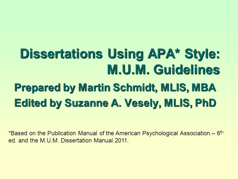 Dissertation guidelines apa