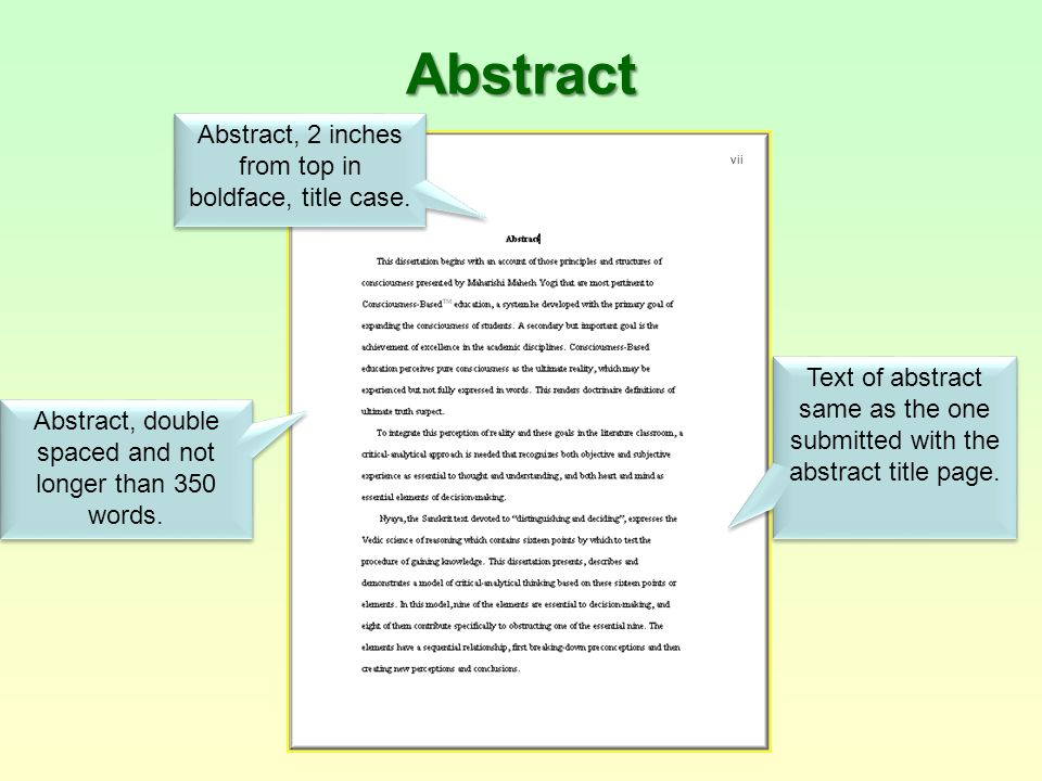 Example of a dissertation abstract