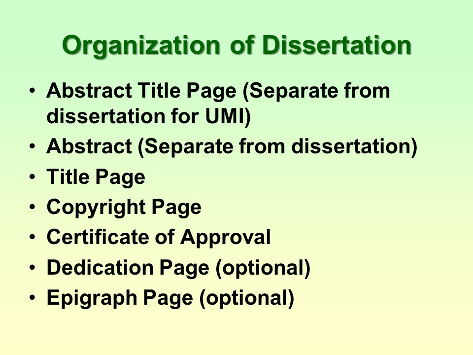 organization of dissertation V cg chapter 4 organization of dissertation \let all things b e done decen tly and in order | 1 corin thians 14:40 the dissertation is organized as follo.