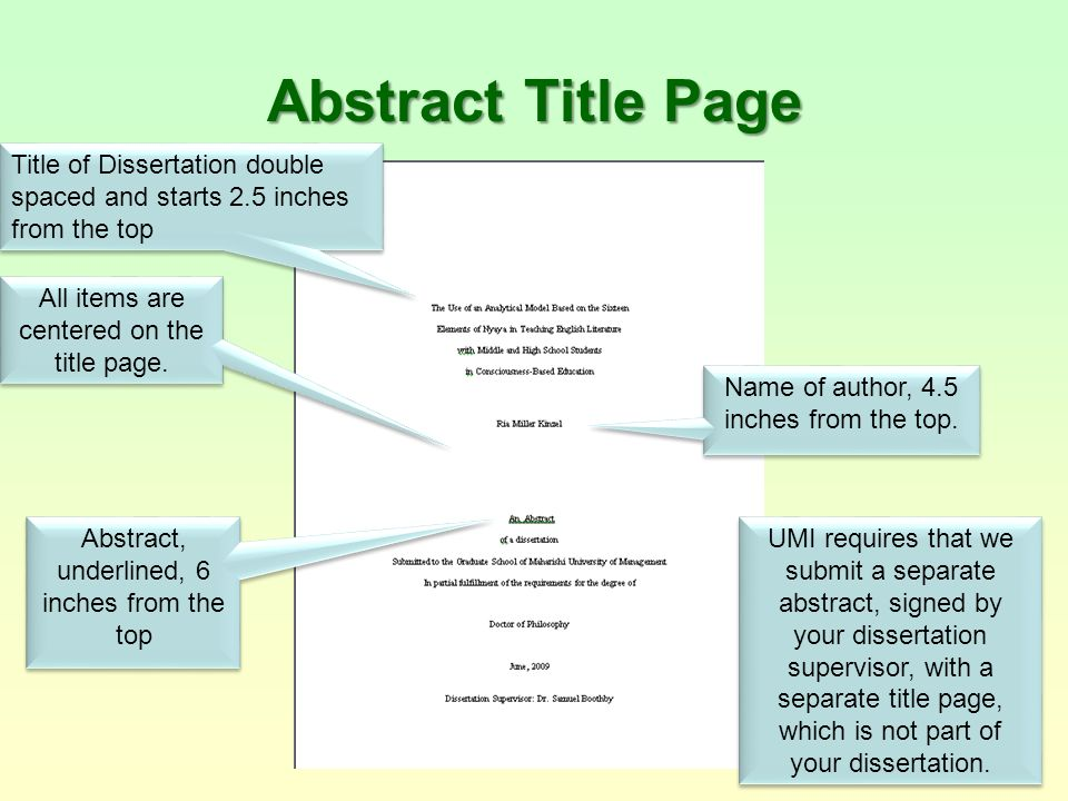 Dissertations Using APA* Style: M.U.M. Guidelines - ppt ...