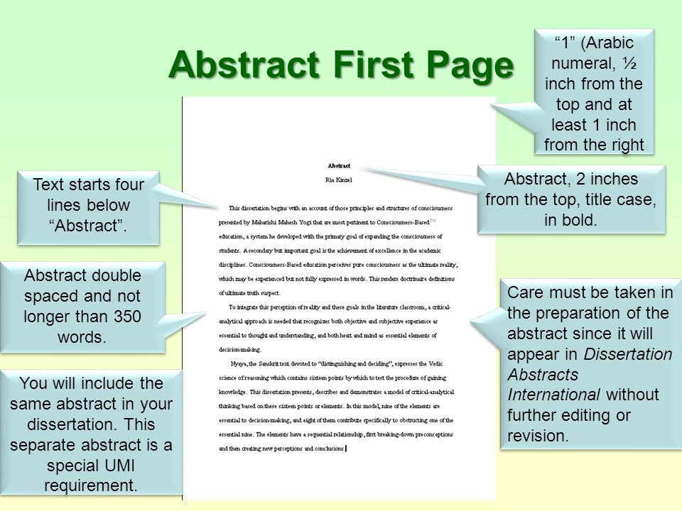 How to write an abstract for your dissertation