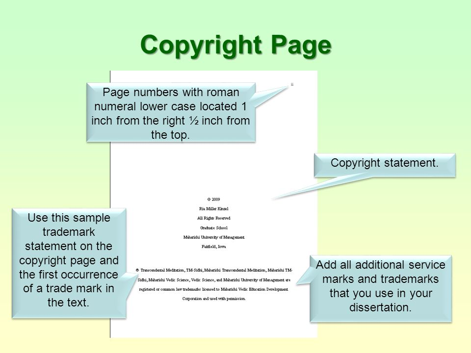 dissertation copyright page Since the certifcate of approval will not be included within the etd document,  the title page should instead be page i (however, the.