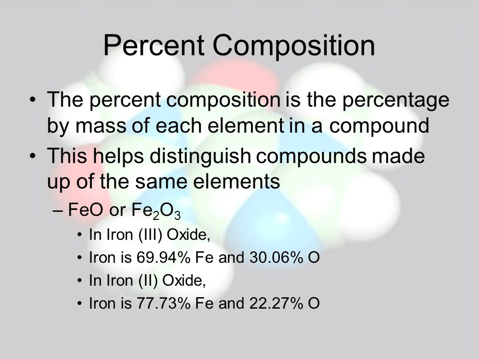 Percent Composition The percent composition is the percentage by mass of each element in a compound.