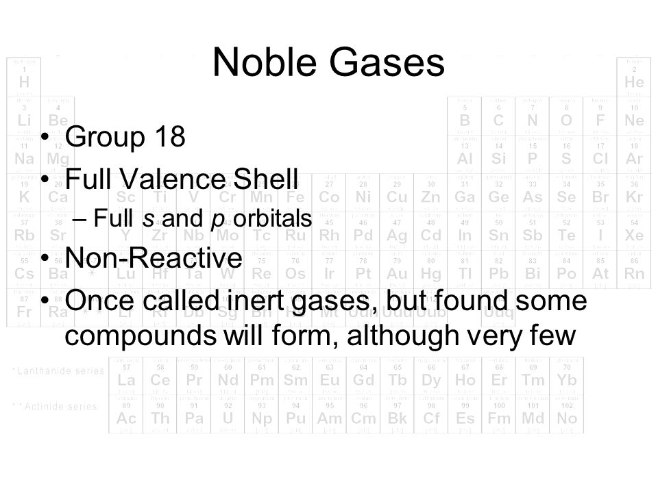 Noble Gases Group 18 Full Valence Shell Non-Reactive