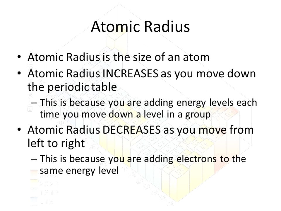 Atomic Radius Atomic Radius is the size of an atom