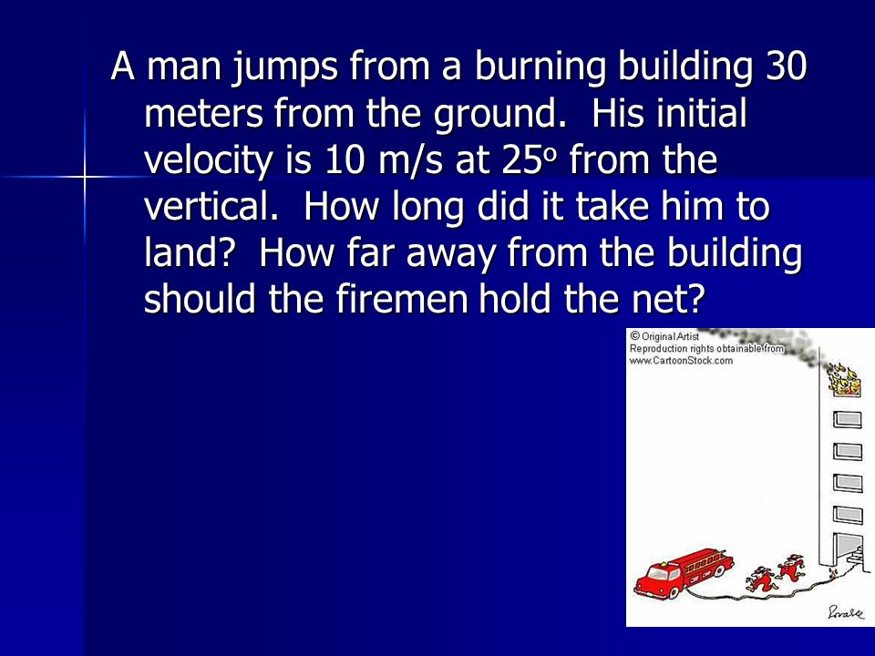 A man jumps from a burning building 30 meters from the ground