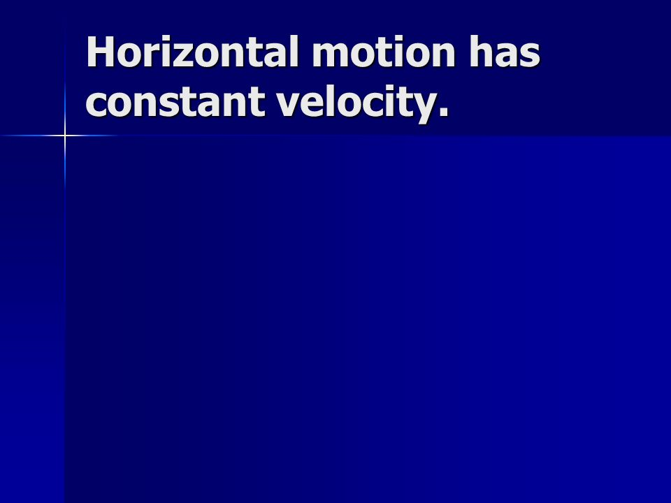 Horizontal motion has constant velocity.