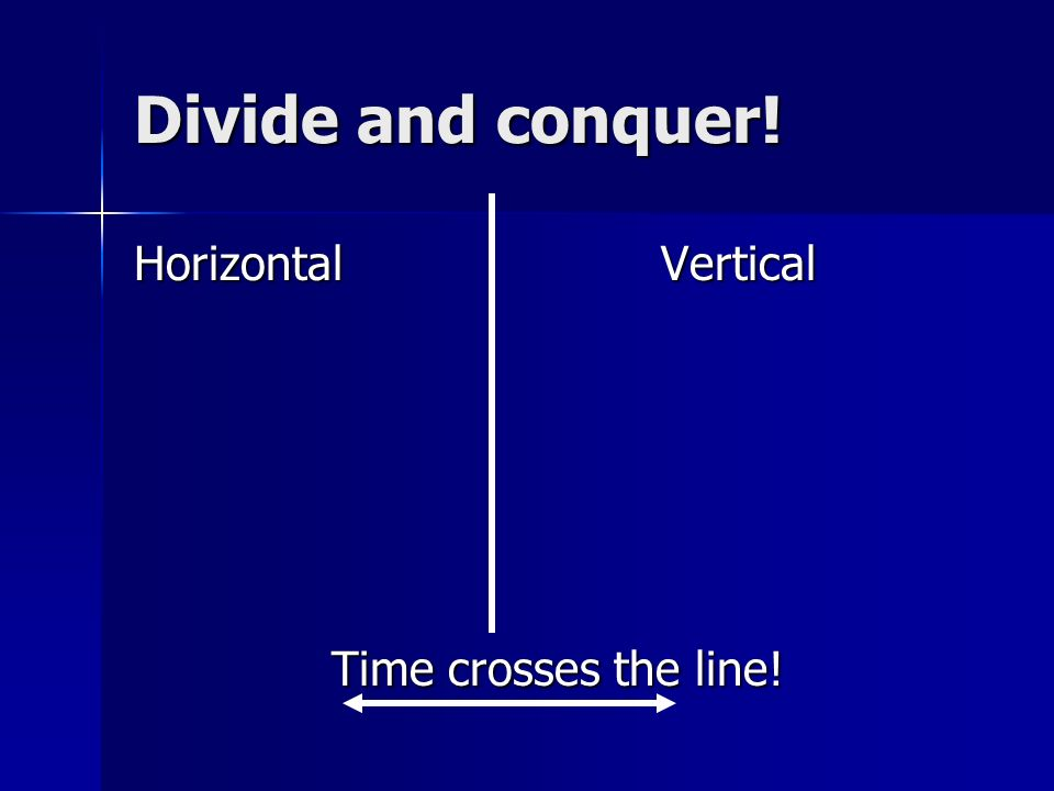 Divide and conquer! Horizontal Vertical Time crosses the line!